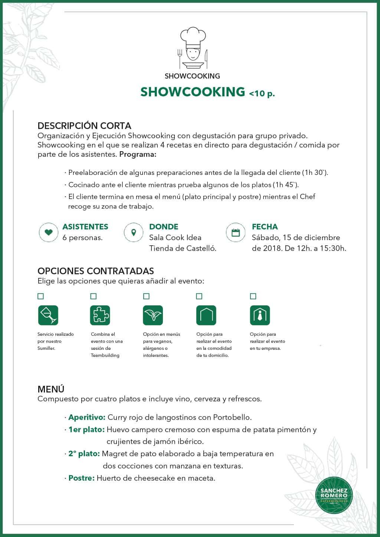 Ej. Showcooking - Teambuilding menos de 10 personas