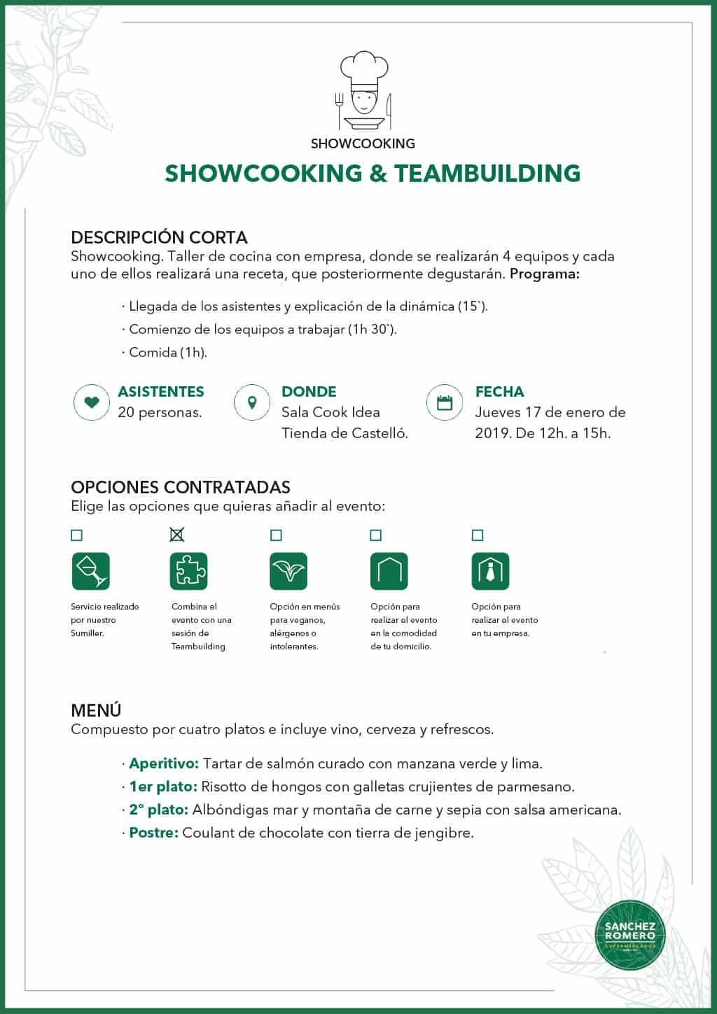 Ejemplo ShowCooking Teambuilding