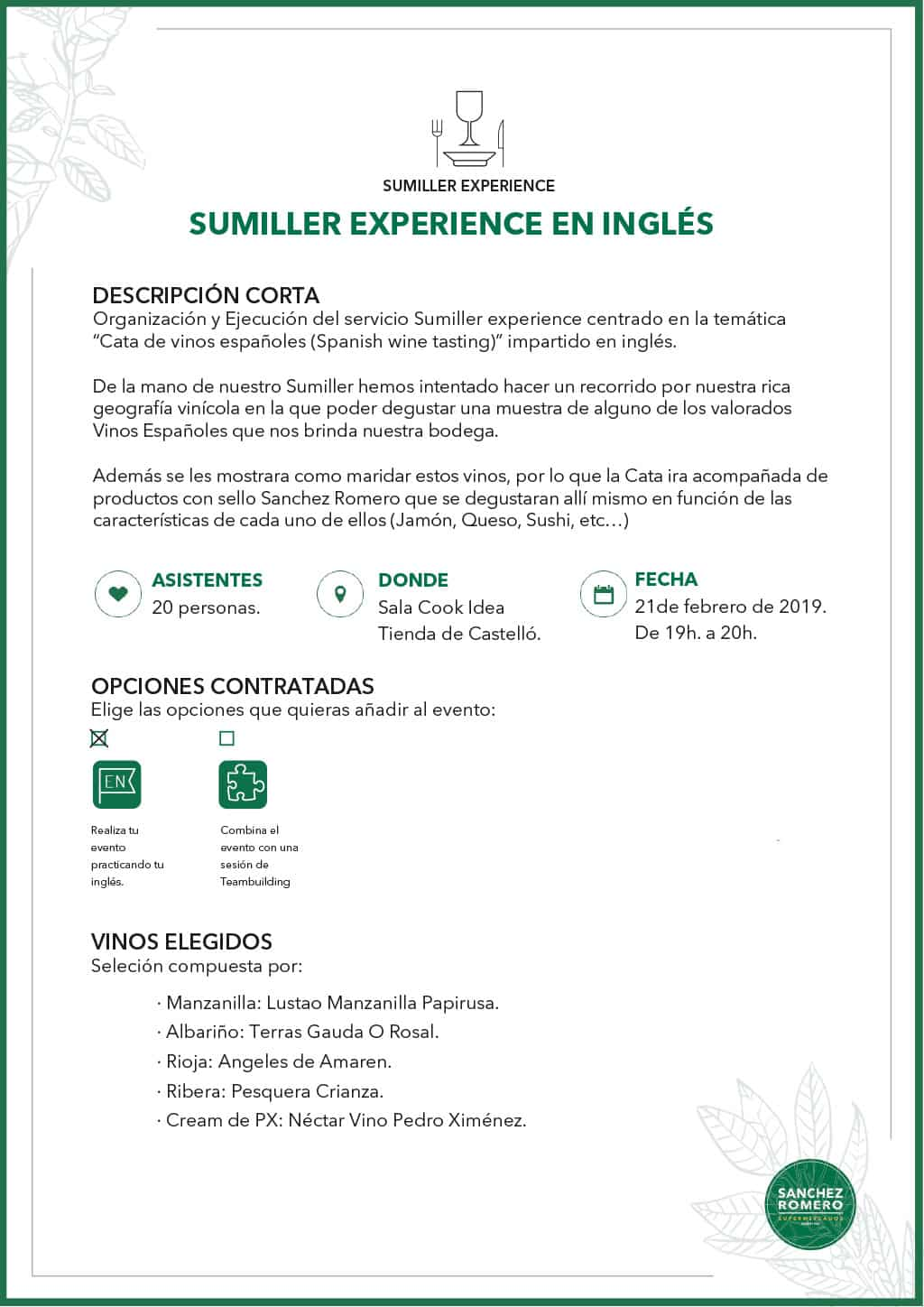 Ejemplo Sumiller Experience